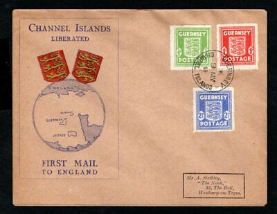 Guernsey - 1945 Channel Islands Liberated First Mail Cover To England • 25£