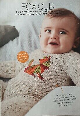 Baby Playsuit Knitting Pattern. Fox Cub  By Bergere  De France  • 1£