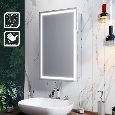 Illuminated LED Bathroom Mirror Cabinet With Lights Infrared Sensor Wall Mounted • 119.69£
