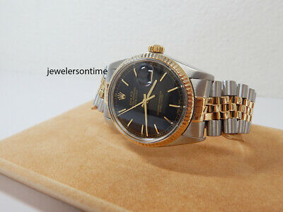 $ CDN6676.32 • Buy 1982 Vintage Rolex Men's 18K/SS Datejust Black Index Dial 16013 Warranty 36mm