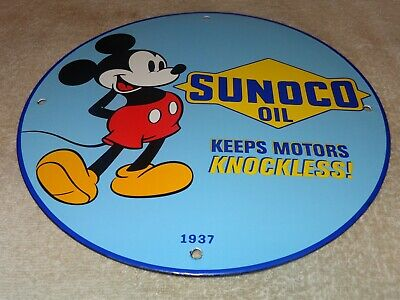 $ CDN210.74 • Buy Vintage 1937  Sunoco Oil And Mickey Mouse  11 3/4  Porcelain Metal Gasoline Sign