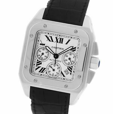Men's Cartier Santos 100 XL Chronograph 2740 Ivory Stainless 41mm Watch W20090X8 • 3,912.83£