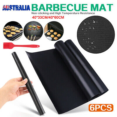 AU19.95 • Buy BBQ Grill Mat Reusable Bake Sheet Resistant Teflon Meat Barbecue Non-Stick +Gift