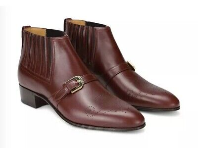 Gucci Leather Ankle Boots G Brogue Smooth Uk 9 Eu 43 Red Bordeaux Rrp £875 🇮🇹 • 595£