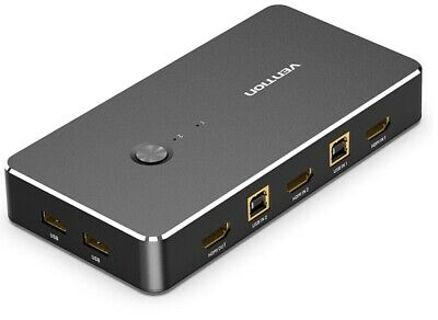 AU99.97 • Buy Vention USB HDMI KVM Switch 4K 2 IN 1 OUT HDMI Switcher And Extended 4 Ports Hub