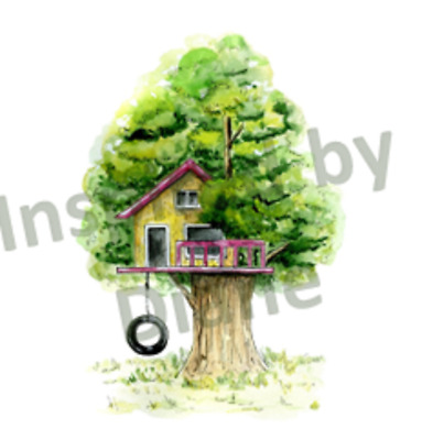 Self Adhesive Wall Sticker From Painted, Tree House Summer Kids, Nursery, 147 • 4.99£