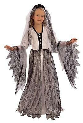 Girls Corpse Bride Costume Zombie Undead Kids Halloween Fancy Dress Outfit • 14.99£