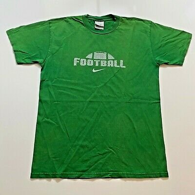 $ CDN25.01 • Buy Vintage Nike Football T-Shirt Size M Green Swoosh Spell Out Gray Tag Retro