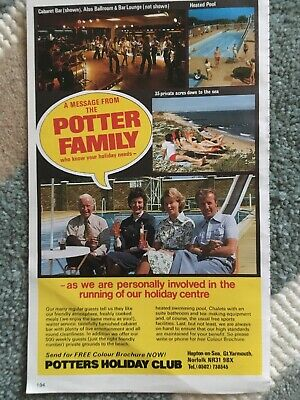 1986 Advert Potters Holiday Club, Hopton On Sea, Hemsby, Norfolk, Great Yarmouth • 4.99£