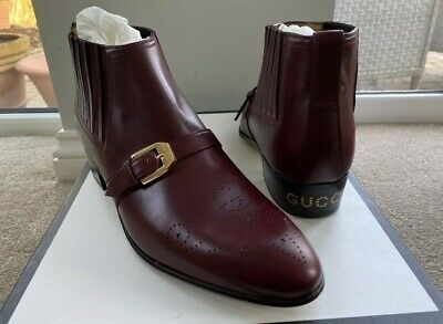 Gucci Leather Ankle Boots G Brogue Smooth Uk 8 Eu 42 Red Bordeaux Rrp £875 🇮🇹 • 595£