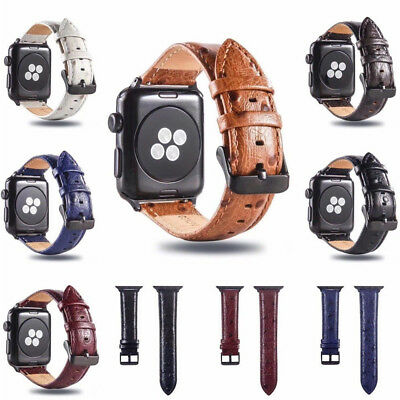 $ CDN17.18 • Buy For Apple Watch 1 2 3 4 Ostrich Grain Genuine Leather Strap Band 38 40 42 44mm