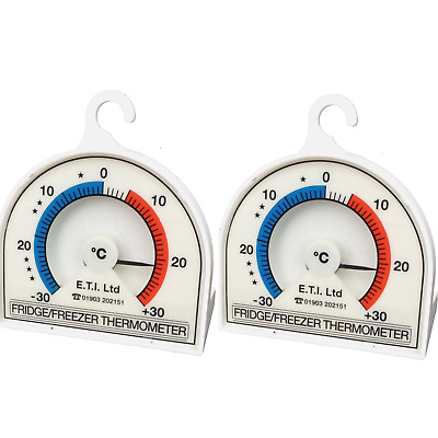 TWO X LARGE 70mm Dial Fridge Freezer Thermometer Kitchen Hanging Hook PACK OF 2 • 5.99£