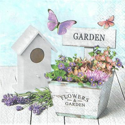 4 Single Paper Decoupage Napkins. Garden, Lavender, Flowers Butterflies  - 235 • 1.40£