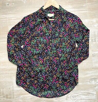 $ CDN13.17 • Buy Maeve Anthropologie Women's Multicolor Floral Button Up Shirt Top Rayon Size 0