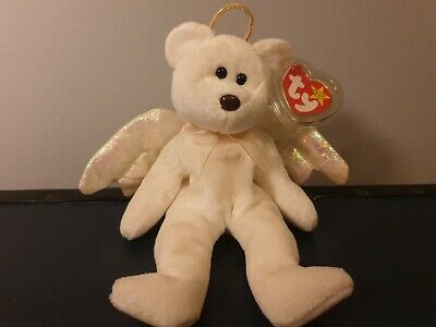 TY Beanie Baby, 1998 Halo Angel Bear, Brown Nose. Tag Protector. • 0.99£