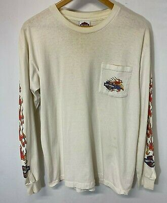 $ CDN33.29 • Buy Vintage Harley Davidson Longsleeve T-Shirt Size L Flaming Sleeves Xenia Ohio