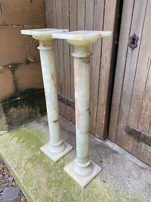 Pair Art Deco Alabaster Column Torchere Jardiniere Marble Church Flower Stand 4 • 899.99£