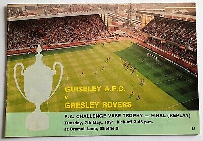Guiseley V Gresley Rovers - FA Challenge Vase Final (Replay) 7/5/1991 Programme • 1.99£