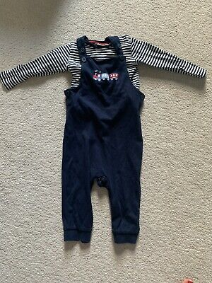 Boys Dungarees Blue With Train Picture 12-18 Months Jojo Maman Bebe VGC • 3£