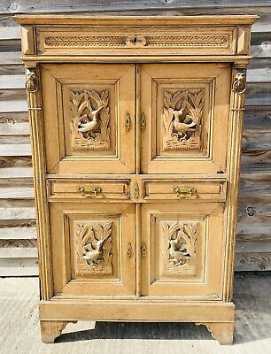 LOVELY ANTIQUE FRENCH 19th CENTURY SOLID OAK CARVED BUFFET CUPBOARD, C1880 • 445£