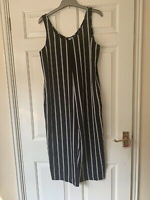 Jumpsuit, Black And Silver Stripes With Pockets, Size 12 • 1.70£