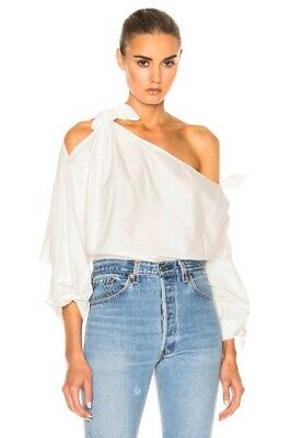 AU152.50 • Buy Zimmermann Winsome Tie Top Pearl White Cotton Bow Oversized Off Shoulder 0 Nwt