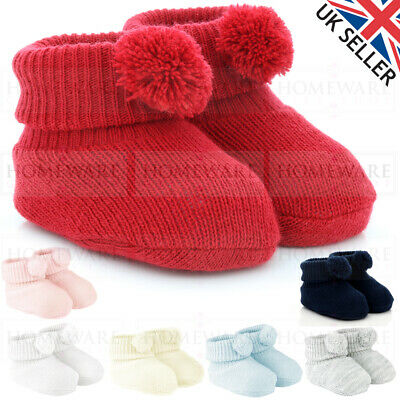 £3.55 • Buy Baby Knitted Booties Pom Pom New Born Soft Spanish Style Baby Blue Pink White Uk
