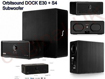 Orbitsound DOCK E30 + S4 Subwoofer Bundle Wi-Fi Speakers With Airsound Black • 299£