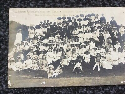 Postcard L'Ecole Wesleyenne Du Vale Guernsey July 12th 1912. School Photo. • 4£
