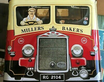 Millers Bakers Tin - Silver Crane Company - Retro Empty Tin - Biscuits? Sweets? • 18£