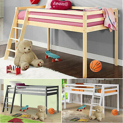 Childrens Cabin Bed Mid Sleeper Loft Bed Single Bunk Beds Kids Wooden Frame 3FT • 119.99£