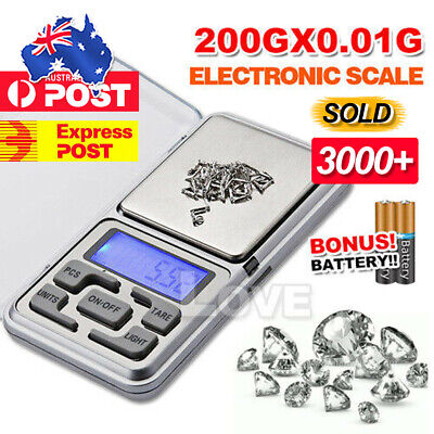 AU7.95 • Buy 200g Pocket Digital Scales 0.01g Precision Jewellery Balance Gram Scale Weight