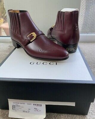 Gucci Ankle Boots G Brogue Smooth Leather Uk 9 Eu 43 Red Bordeaux Rrp £875 🇮🇹 • 550£