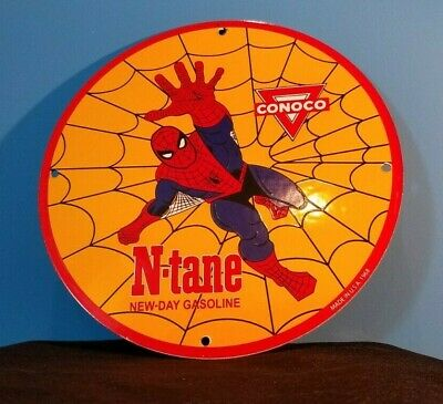 $ CDN200.51 • Buy Conoco Porcelain Spider Man Vintage Style Gasoline And Oil Comic Ntane Rack Sign