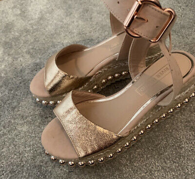 £22 • Buy River Island Rose Gold Studded Flatform Wedges Size 3 Worn Once For A Few Hours