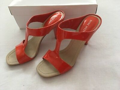 AU40 • Buy NINE WEST PATENT ORANGE LEATHER HEEL SANDAL SLIDE Sz 7M + Box