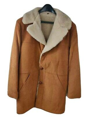 £39.99 • Buy Vtg Sears Mens Jacket Coat Corduroy Brown Button Faux Fur Collared Tall 42