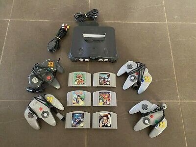AU305 • Buy Nintendo 64 System + 4 Controllers + 6 Games With Original Cables.
