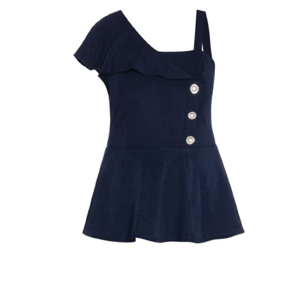AU19.99 • Buy City Chic Ladies Flirty Shoulder Top Sizes 20 Large Colour French Navy