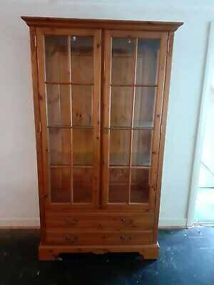 Solid Wood Glass Display Cabinet With Drawers • 40£
