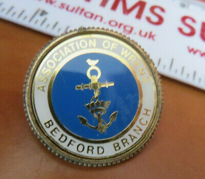 Royal Navy - Wrns - Gilt & Enamel Association Badge - Bedford Branch • 7£