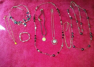 $ CDN53.32 • Buy Lia Sophia All Signed 9 Piece Jewelry Lot 7 Necklaces 1 Ring 1 Bracelet