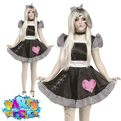 Ladies Sexy Broken Doll Costume Zombie Dolly Halloween Fancy Dress Outfit • 24.99£