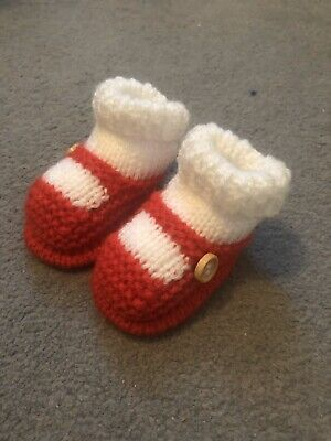 New - Hand Knitted Baby Bootees - Sock And Shoe Style - Red - 0-3 Months • 3.50£