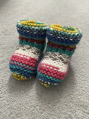 New - Hand Knitted Baby Bootees - Mixed Multi - Newborn - • 3£