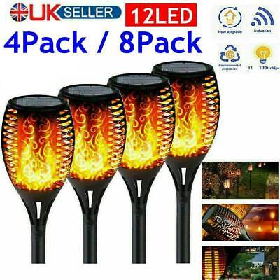 8X 4X Solar Garden Flame Light Flickering LED Torch Lamp Waterproof Landscape Uk • 13.99£