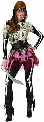 Womens Skeleton Pirate Wench Costume Halloween Fancy Dress Outfit Ladies • 18.99£