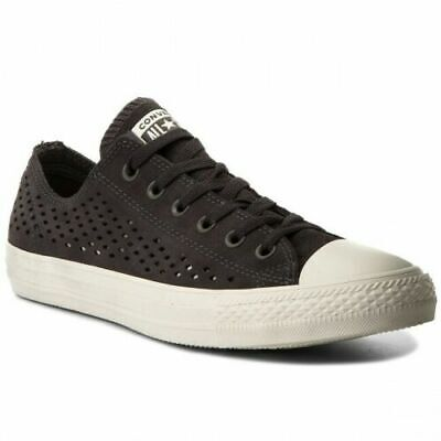 £19.95 • Buy RRP£75 Converse Chuck All Star SUEDE LEATHER Black Dark Grey White Low Tops UK 5