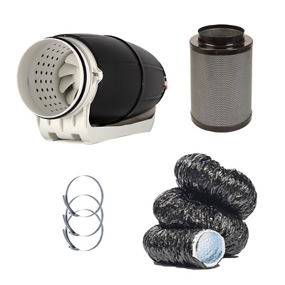 £130 • Buy Hydroponic Cyclone Silent Inline Fan Carbon Filter Kit Acoustic Grow Tent UK