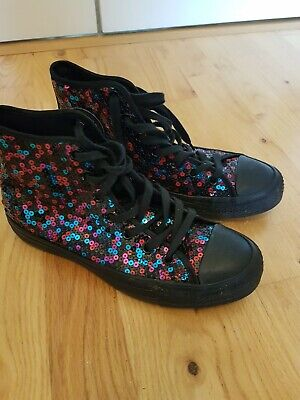 Converse Chuck Taylor All Star Holiday Scene Sequin High Top Black UK 6 • 20£